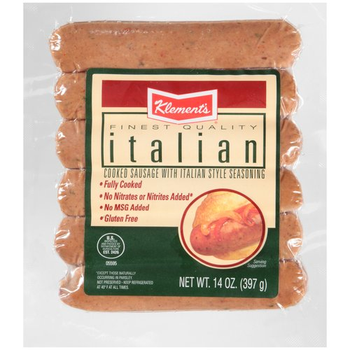 Klement's Italian Cooked Sausage, 6 count, 14 oz