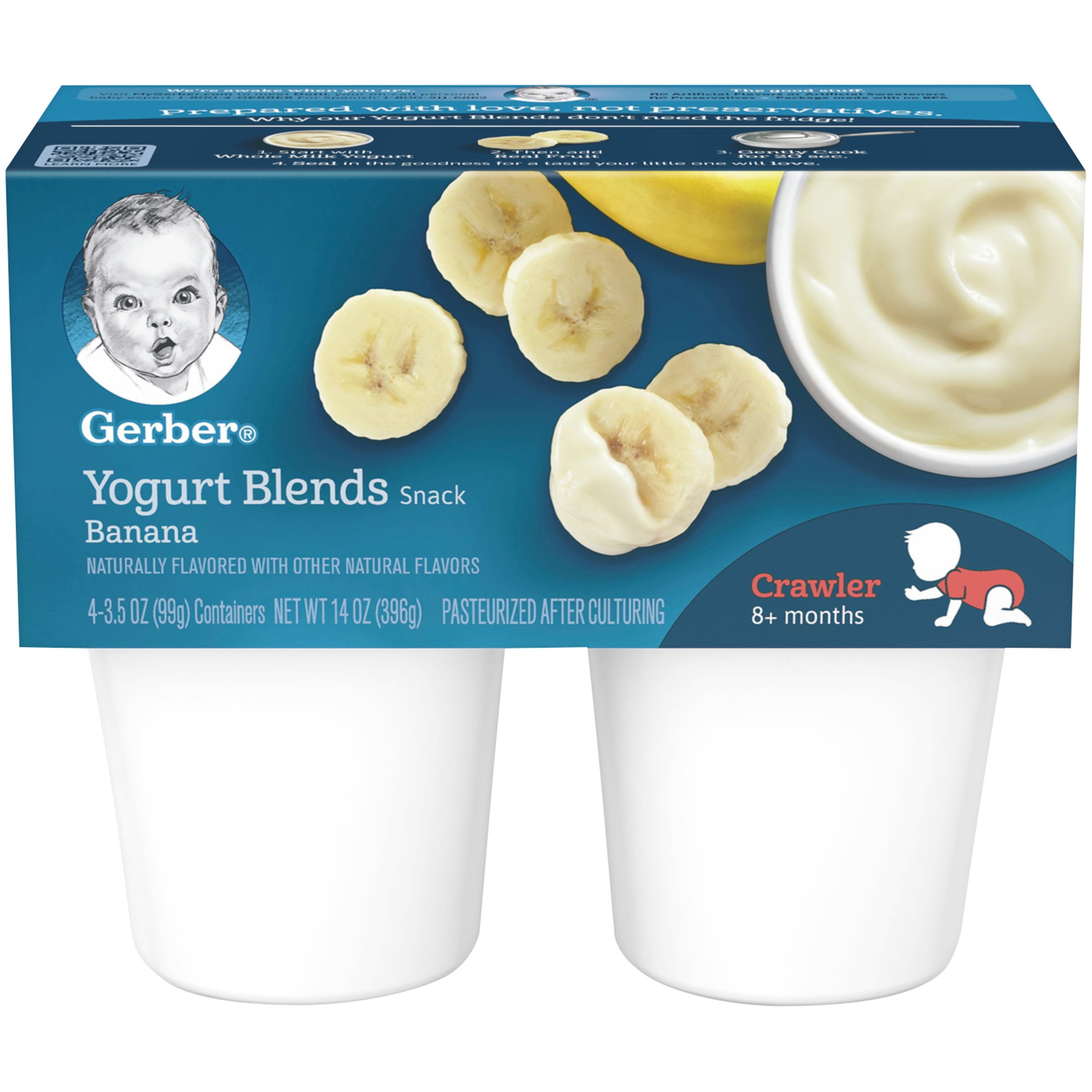Gerber Yogurt Blends Snack Banana Yogurt 4-3.5 oz. Cups