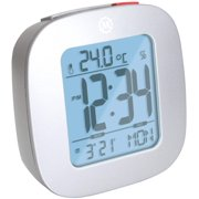 MARATHON CL030058GG Compact Alarm Clock with with Snooze, Light Feature, Temperature and Date - Graphite Grey -