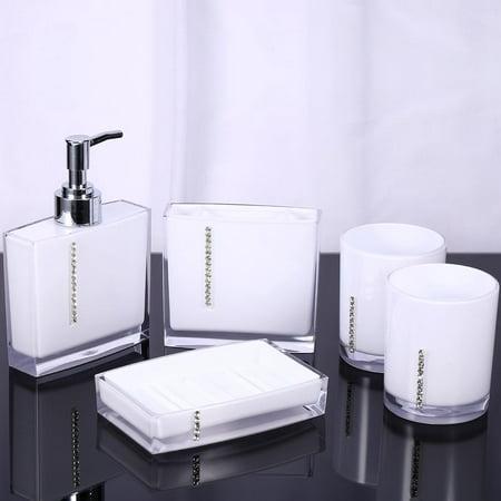 Hilitand 5PCS  Bathroom Set Suit Acrylic Bathroom Accessories Set Bath Cup Toothbrush Holder Soap Dish White