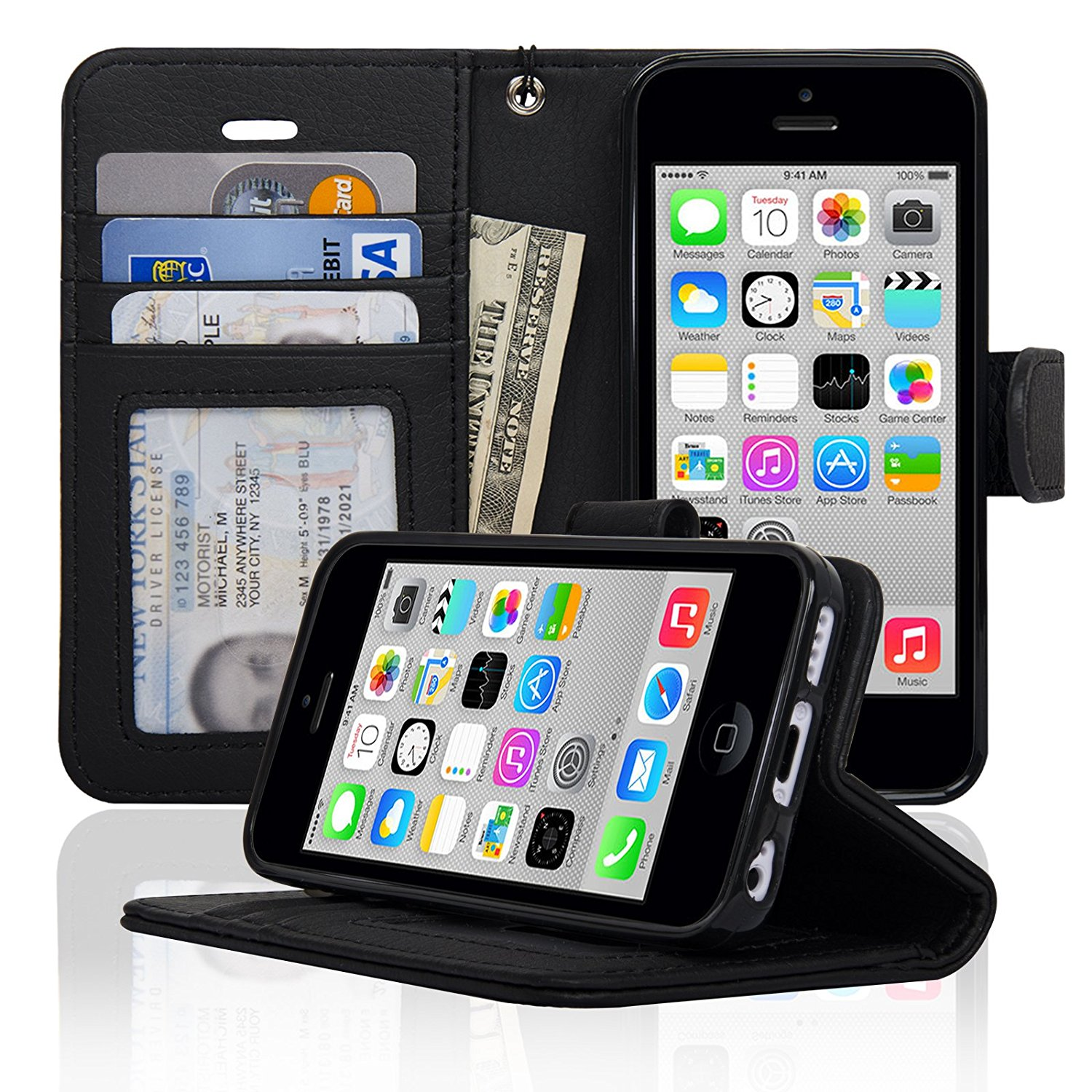 Navor iPhone 5C Protective Book Style Folio Wallet Leather Case - Black