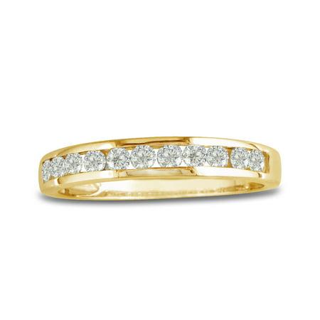 10K Yellow Gold Round Diamond Anniversary Wedding Band Ring (1/4cttw)