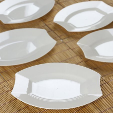 Plastic Catering Platters (Efavormart 50 Pcs -  Crescent Oval Shaped Disposable Plastic Plate Dinner Plates for Wedding Catering Party Banquet)