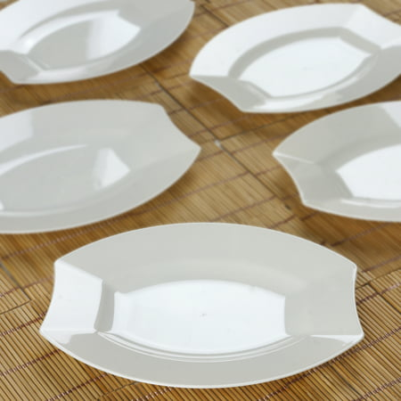 Efavormart 50 Pcs -  Crescent Oval Shaped Disposable Plastic Plate Dinner Plates for Wedding Catering Party Banquet Events - White Plastic Plates