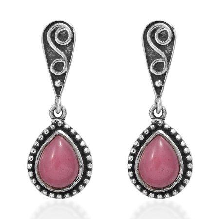 Dangle Drop Earrings 925 Sterling Silver Pear Pink Jade Boho Handmade Gift Jewelry for Women