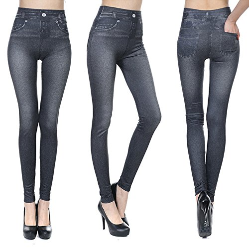 Fashion Jeans for Women, Leggings with Denim Jeans Wash, Stretch Pants, Jeggings (2XL, Black Jeans)