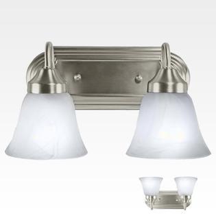 2 Light Bathroom Vanity Light Bar Fixture Brushed Nickel