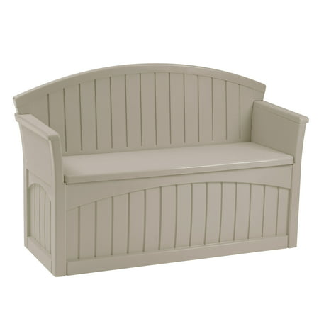Suncast 50 Gallon Resin Patio Storage Bench, Light Taupe, (Plastic Outdoor Storage Bench)