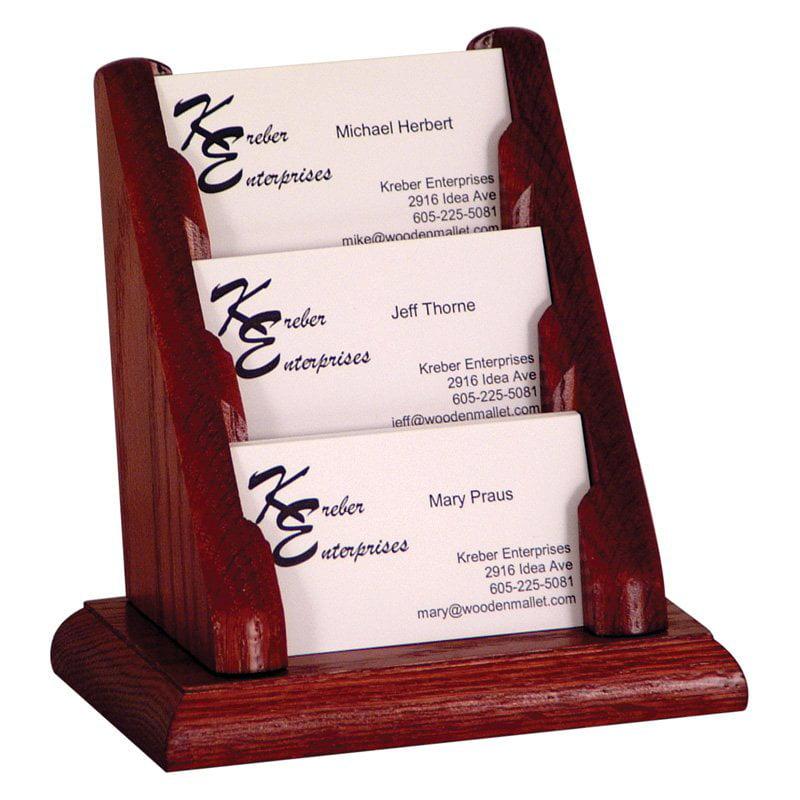 Wooden Mallet 3 Pocket Counter Top Business Card Holder