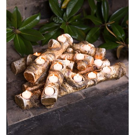 Large Resin Faux Log Fireplace Candle Holder ()