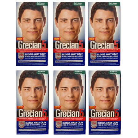 Just For Men Grecian 5 Permanent Shampooing-In Haircolor, Dark Brown (Pack of 6)