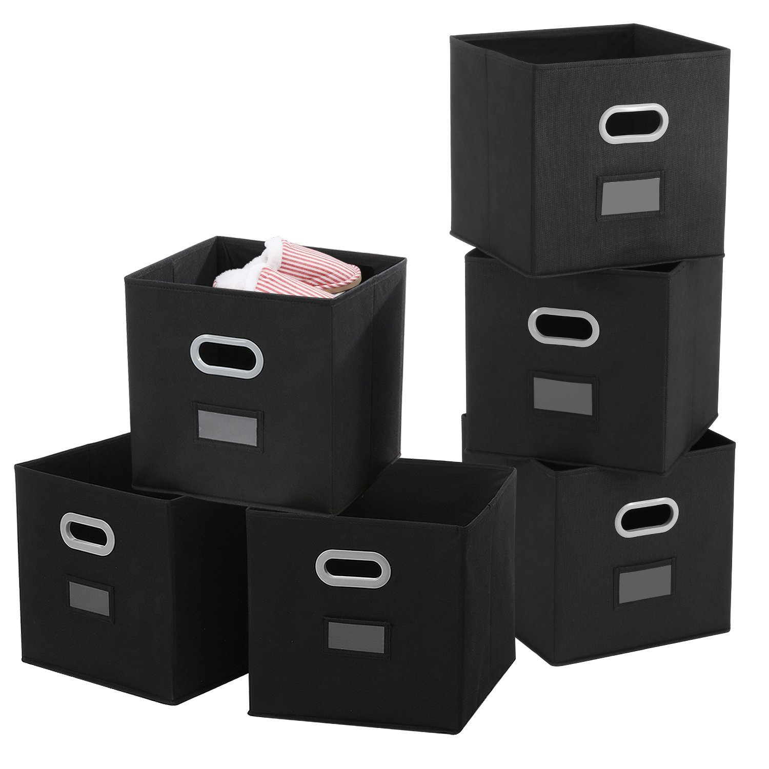 Cloths Storage Bins with Label Holders, Magicfly 6 Pack Fodable Fabric Cube Organizers with Dual Handles Beige