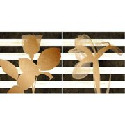 "Stripe Rose/Stripe Iris Wall Art, 24"" x 12"""