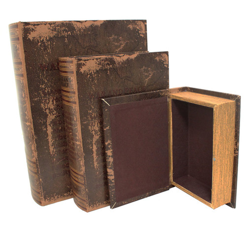 EC World Imports 3 Piece Leather and Wood Book Safe Set by ecWorld Enterprises