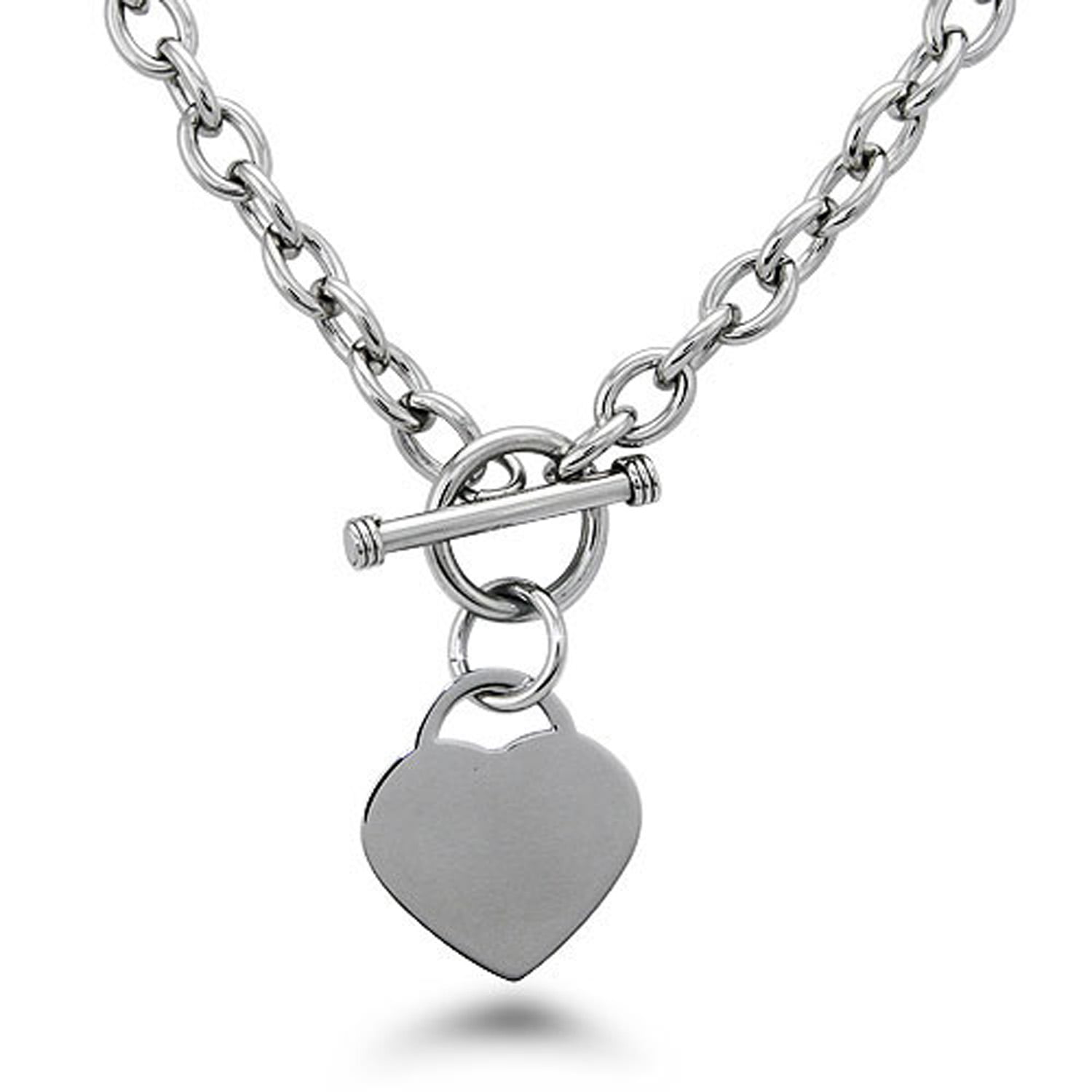 Tioneer Stainless Steel Love Volleyball Heart Floating Heart Tag Charm Pendant Necklace
