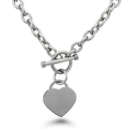 Stainless Steel Heart Tag Charm Toggle Chain Necklace