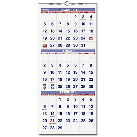 At A Glance Calendar.At A Glance 3 Month Reference Wall Calendar