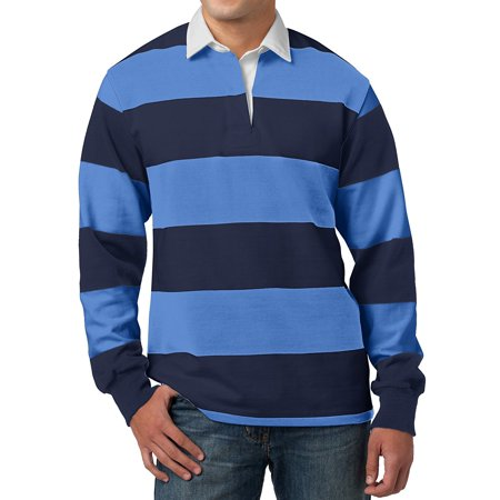 Mens Long Sleeve Rugby Shirt - Navy/Carolina Blue, Extra - Spandex Rugby