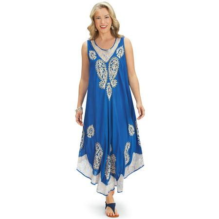 - Women's Paisley Medallion Print Bohemian Sleeveless Summer Dress, X-Large/Xx-Larg, Royal Blue