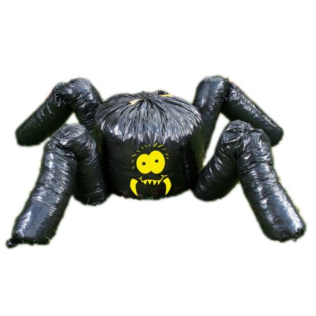 Fun World Giant Halloween Spider Leaf Bag 2pc 7 feet Outdoor Decor, Black](Spider Design For Halloween)