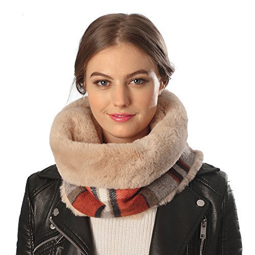 Sassy Scarves Womens Infinity Scarf with Faux Fur Lining (Orange)