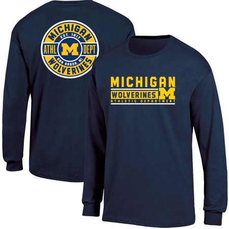 - Men's Russell Navy Michigan Wolverines Back Hit Long Sleeve T-Shirt