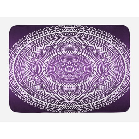 Purple Bath Mat, Ombre Mandala Art Print Vibrant Floral Pattern Boho Hippie Inspired Design, Non-Slip Plush Mat Bathroom Kitchen Laundry Room Decor, 29.5 X 17.5 Inches, Purple and White, Ambesonne - Hippie Inspired Room