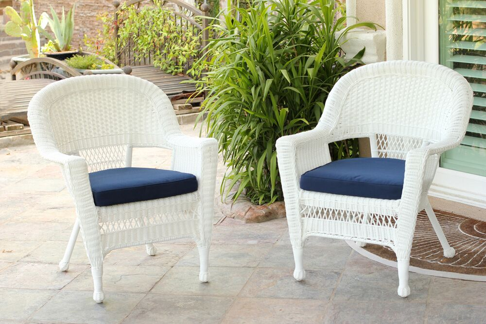 Set of 2 White Resin Wicker Outdoor Patio Garden Chairs ...