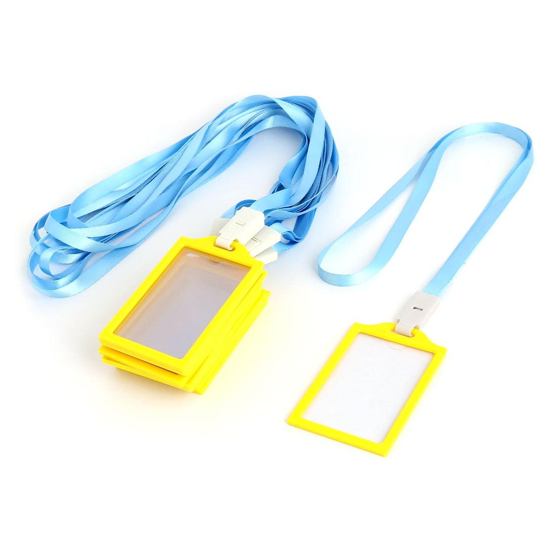 Office School Plastic Vertical Dustproof Name Tag Holder Yellow Sky Blue 10 Pcs
