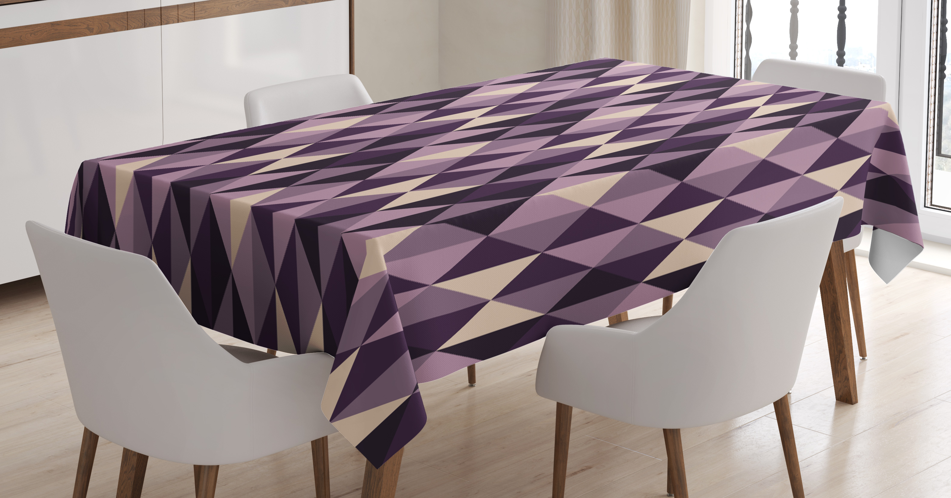 Geometric Tablecloth, Abstract Stylized Triangles With Dark And Pale Color  Shades, Rectangular Table Cover