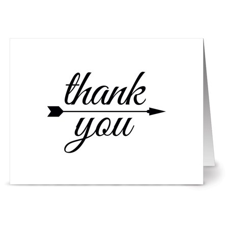 24 Note Cards - Handwritten Thank You - Blank Cards - Gray Envelopes Included