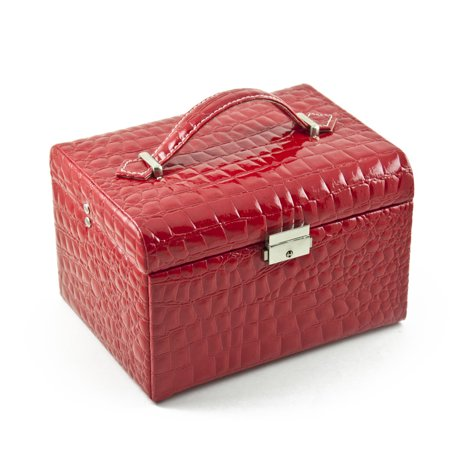 Luxurious Red Croc Skin Faux Leather Multi-Tier Jewelry Box With Lock ()