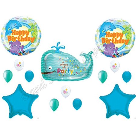 WHALE OF A PARTY Ocean Happy Birthday Balloons Decoration Supplies Summer Luau Octopus