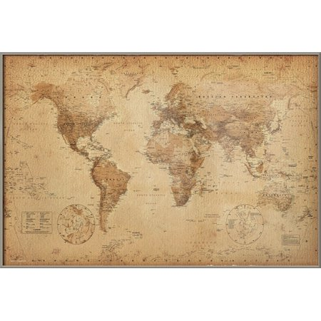 Antique World Map Framed Poster Print Vintage Map Of The World
