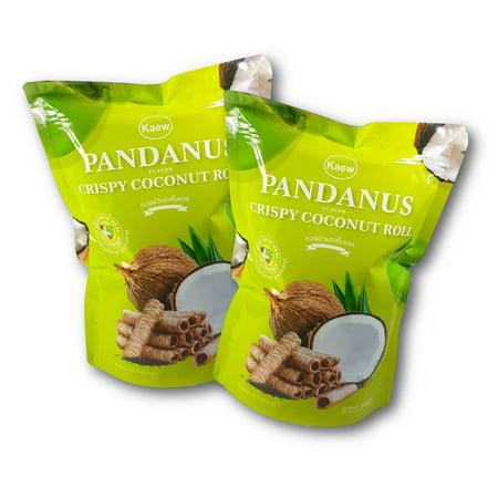 Thai Pandan Pandanus Crispy Coconut Rolls by Kaew 100 g. (Pack of 2)