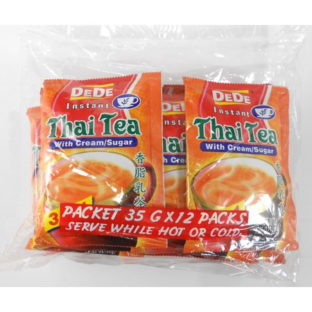 DeDe Instant Thai Tea with Cream and Sugar Serve Hot or cold 35 g. (Pack of (Sugar Afternoon Tea)