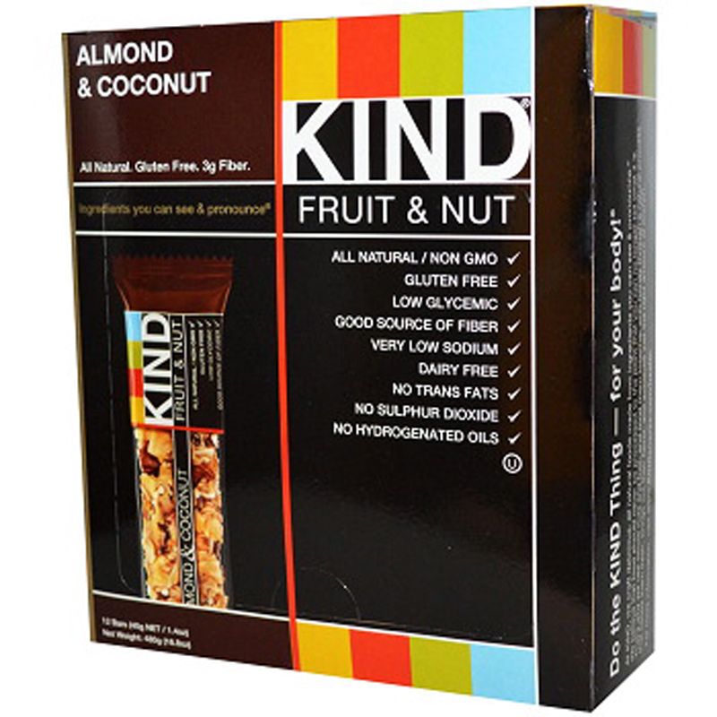 KIND Fruit & Nut, Almond & Coconut, All Natural, 1.4-Ounce Gluten Free Bars,12 count