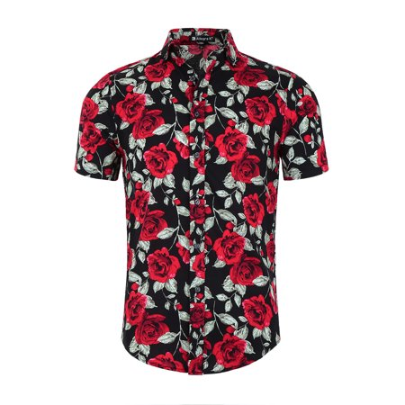 2aefd576fb Men Floral Print Slim Fit Short Sleeve Button Down Beach Hawaiian Shirt S  (US 34) Black-Rose