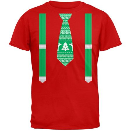 Ugly Christmas Sweater Tie With Suspenders Red Adult T-Shirt - Ugly Tie