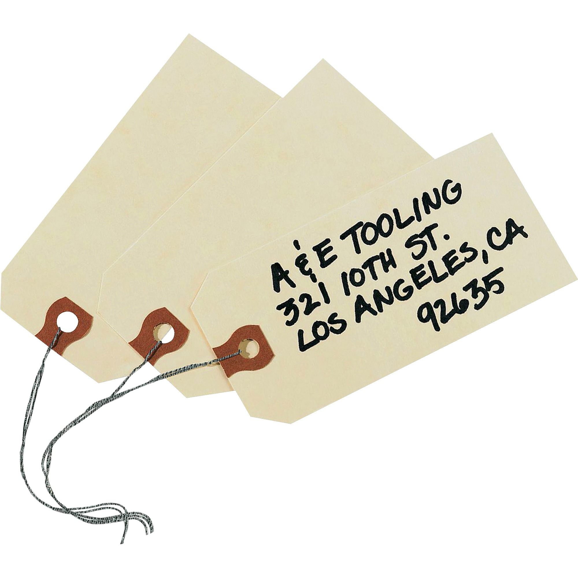 """1000-4 1//4/"""" x 2 1//8/"""" Size 4 Manila Inventory Shipping Hang Tags with String"""