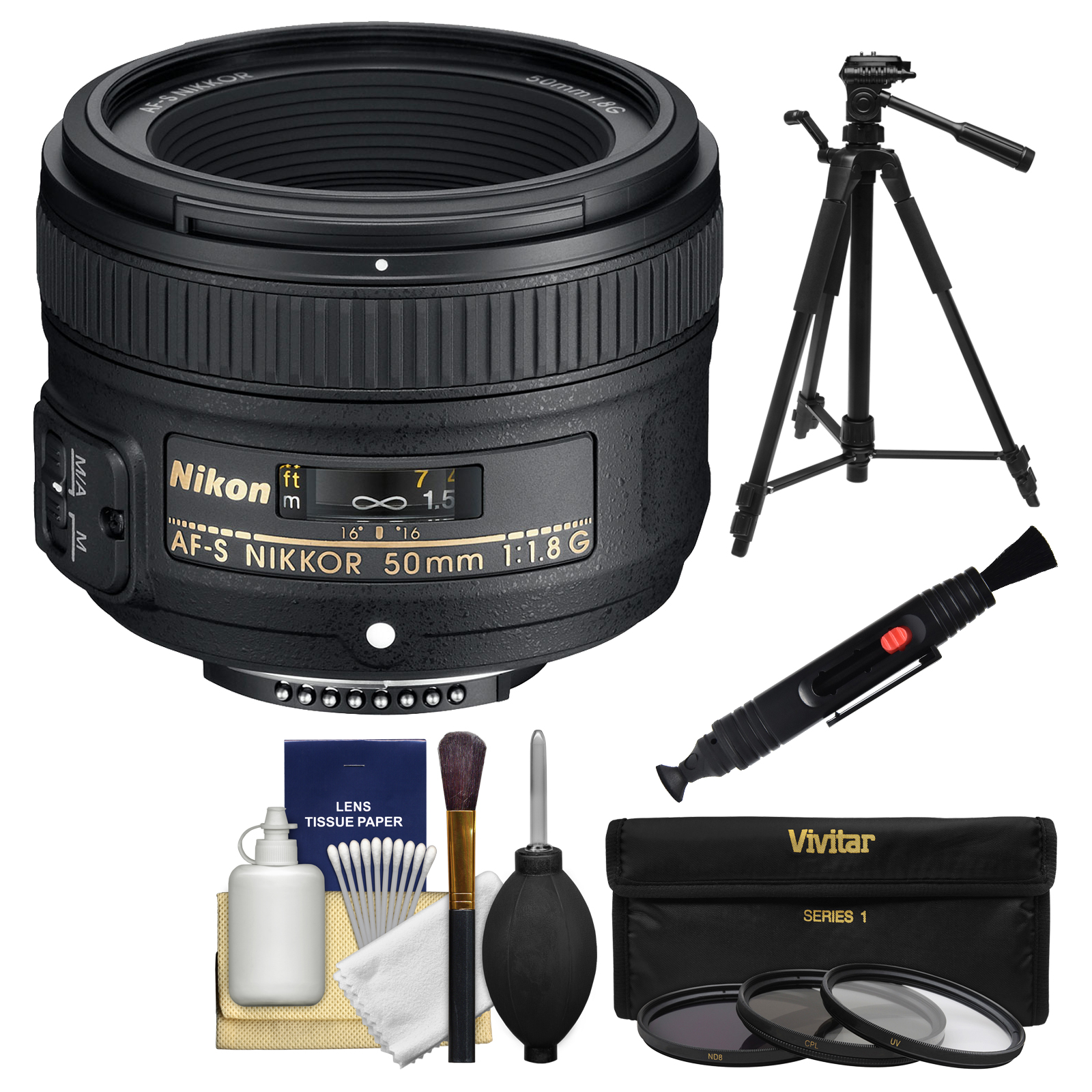 Nikon 50mm f/1.8G AF-S Nikkor Lens - Factory Refurbished with 3 UV/CPL/ND8 Filters + Tripod + Kit