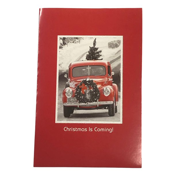 Old Red Truck Wreath Christmas Is Coming Holiday Cards Walmart Com Walmart Com