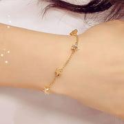 Jeobest Hand Chain Bracelet - Hand Bracelet Chain - Women Hand Chain Bracelet - Women Girl Bangle Simple Gold Filled Chic Heart Trendy Five Stars Fine Chain Bracelet Cuff Jewelry Party MZ