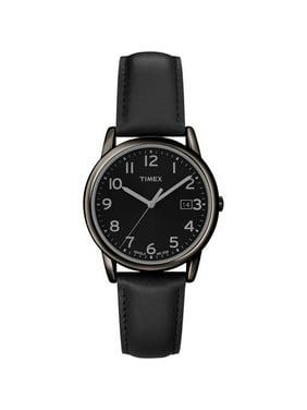 Men's South Street Watch, Black Leather Strap