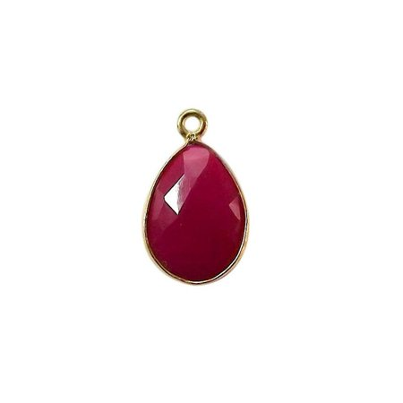 CG-344-CHR-D 18K Gold Overlay Stone Connector With Red Chalcedony