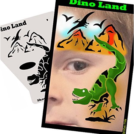 Face Painting Stencil - StencilEyes Profile Dino Land, The original face painting stencils - Made in the USA By ShowOffs Body Art Ship from US