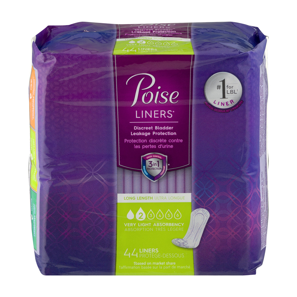 Poise Liners Long Length Very Light Absorbency Liners - 44 CT