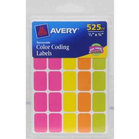 Avery(R) Assorted Neon Removable Color Coding Labels 6721, 1/2
