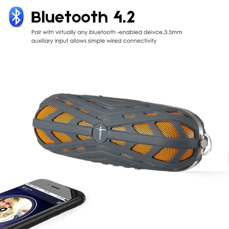 Bluetooth Speaker Portable Waterproof Outdoor Wireless Speakers Enhanced Bass, Sync Together, Built in Mic, TF Card, Auto Off, Shower & Home