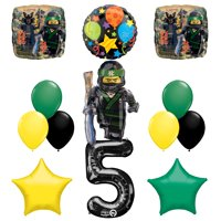 The Ultimate Lego Ninjago Fifth 5th Birthday party supplies and Balloon Decorations